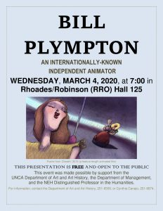 Bill Plympton poster for March 4, 2020 exhibition